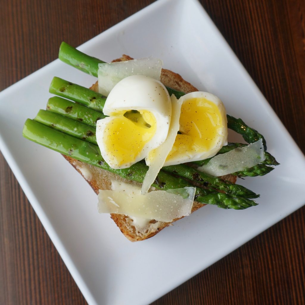 six minute egg and asparagus toast